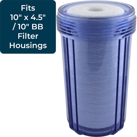 355221-43 10x4.5 Water Filters 8 Pack SpiroPure Replacement for Pentek WPX100BB97P